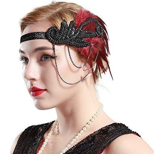Babeyond Damen Feder Stirnband 1920s Stil Inspiriert von Der Große Gatsby Flapper Stirnband Kostüm Party Accessoires für Damen One Size (Schwarz und - Der Große Gatsby Motto Kostüm