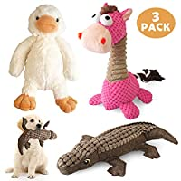 KONKY Squeaky Dog Toys 3 Pack Toys Set, Durable Dog Plush Toy Chew Toys, Various Animals Shapes Dog Toy for Puppy Small Medium Large Dogs - Duck, Horse and Crocodile