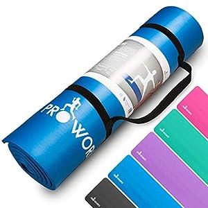 Proworks Große Premium Yogamatte Gepolstert & rutschfest für Fitness Pilates & Gymnastik mit Tragegurt – Schwarz/Blau/Lila/Grün/Rosa – [Maße 183cm Länge 60cm Breite] – Phtalatfrei