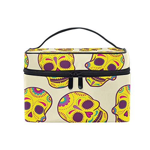 ake-up Kosmetiktasche Tasche,Travel Cosmetic Bag Halloween Sugar Skull Toiletry Makeup Bag Pouch Tote Case Organizer Storage for Women Girls ()