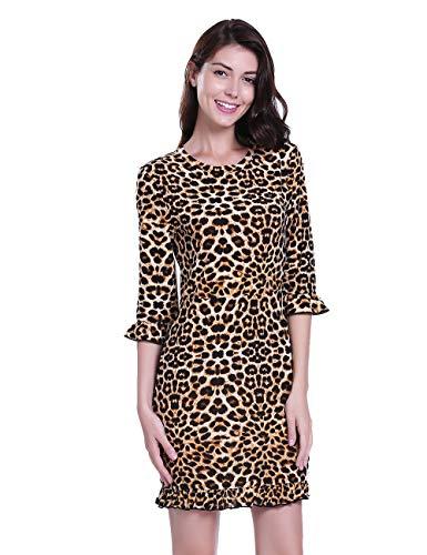 Leopard Design Kleid (Dilgul Kleider Damen Leoparden 3/4 Ärmel Glockenärmel Druck Mini Kleid Leopard Medium)