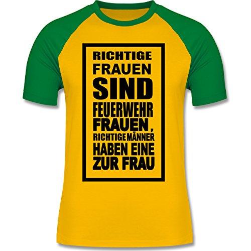 Feuerwehr - Feuerwehr - Richtige Frauen - zweifarbiges Baseballshirt für Männer Gelb/Grün