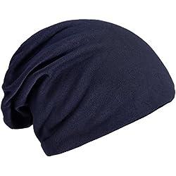 DonDon Mujer Jersey Gorro para todo el año clásico flexible gorro transpirable suave y adaptable a cualquier talla de cabeza - Azul oscuro