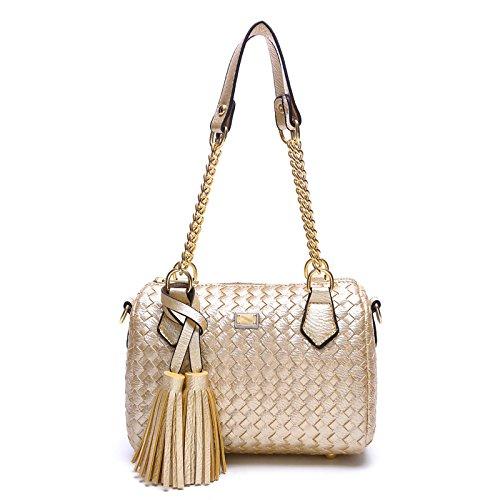 Mefly Meine Damen Handtasche Feder Stil Lässig Gewebten Beutel Golden
