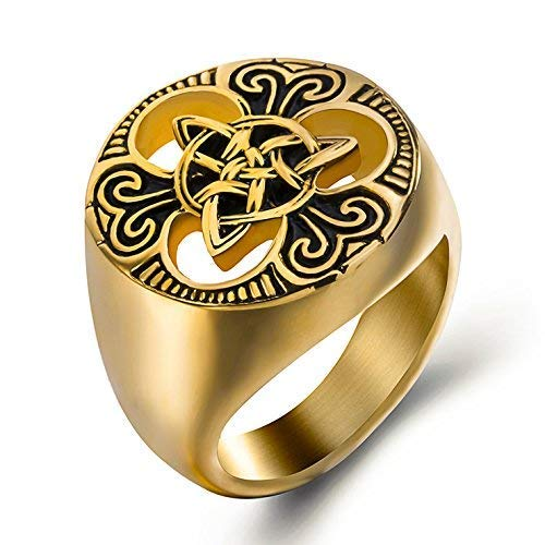 s Steel Ring Silver Celtic Knot Magic 18K Gold Plated Jewelry ()
