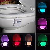 QHGstore Aseo Baño luz de la noche de movimiento humano asiento activado lámpara de detección de 8 colores