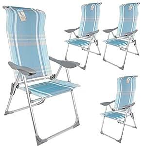 BAKAJI Set 4 Sedie Pieghevoli in Alluminio Schienale Reclinabile in 5 Posizioni con Braccioli in PlasticaDimensioni 110 x 59 x 59 cm,
