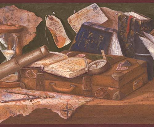 Retro Art Mittelalterliche Werkbank - Globus Tintenfass mit Feder Karte Bücher Kompass Sanduhr grün braun Wallpaper Border Retro-Design, Roll-15\' x 10,25 \'\'