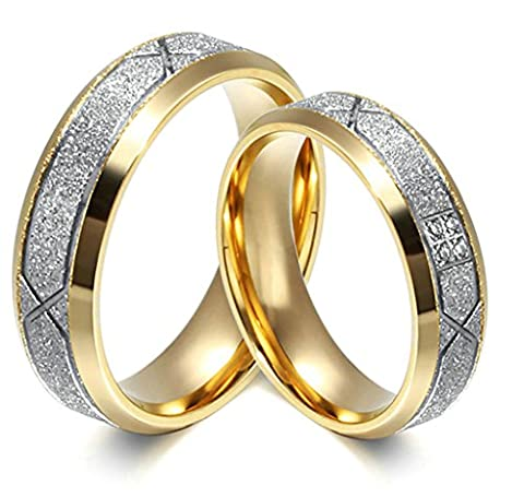 Knsam Alliance Mariage Bague Acier Inoxydable Sablage Design 6MM Cadeau
