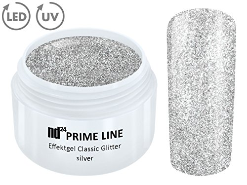 5ML - PRIME LINE - UV LED GEL GLITTER SILVER Glitzer Farbgel Effekt Color Nail Art Modellage Silber - MADE IN GERMANY