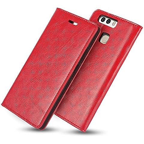 Caso Huawei Ascend P9 Plus Belk[Periodo Drappeggiato]Cuoio di Vibrazione Custodia Sottile Dell'Unità di Elaborazione Copertura[3 ID Card slot]Supporto PC Multi Durevole Ibrida del Foglio Della Copertura Della Cassa Lavoro Portafoglio di Business Libro per Pollici Huawei Ascend P9 Plus,5.5 Pollici-Rosso