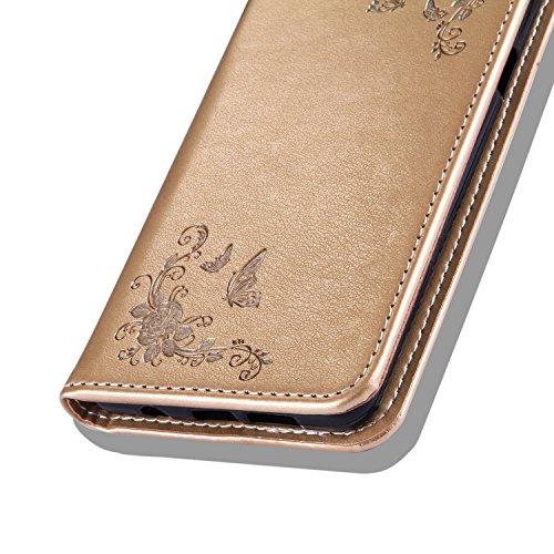 Toyym, Custodia a portafoglio, in similpelle, compatibile con Apple iPhone SE/5S/5, motivo colorato in 3D, con chiusura magnetica, con tasche per carte di credito, con tappino anti-polvere a forma di  Gold