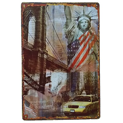 Placas Decorativas Vintage metalicas York. Carteles New York Pared Retro