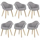 EUGAD 6er Set Esszimmerstühle Esszimmerstuhl Polsterstuhl mit Massivholz Beine,Essstuhl mit Arm- und Rücklehne, der Sitz aus Leinen, BH55gr-6, Grau