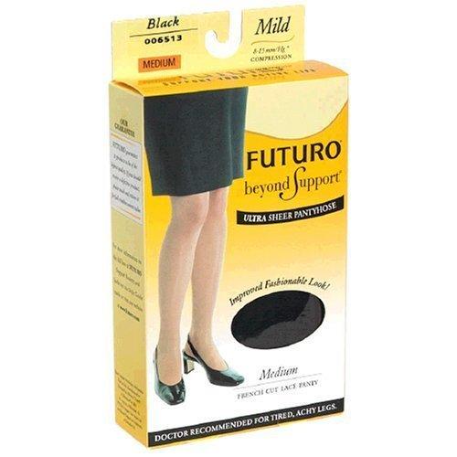 Futuro Energizing Ultra Sheer Pantyhose, Medium,Black, Mild, French-Cut Lace Panty, 1-Pair Boxes by Futuro (Sheer Panty Cut)