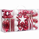 Valery Madelyn Palline di Natale 100 Pezzi 3-16cm, Decorazione dell'albero di Natale Plastica Rosso Bianco, Addobbi e Decorazioni Natalizi, Regali dei Ciondoli e Pendenti di Natale