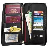 Reiseorganizer mit RFID Schutz | Dokumententasche, Reise Organizer, Mappe für Reiseunterlagen, Reiseetui für Reisedokumente Reisemappe Reisebrieftasche Reisebörse Tickettasche Ausweistasche SM-947PBL