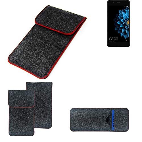 K-S-Trade® Filz Schutz Hülle Für -Hisense A2- Schutzhülle Filztasche Pouch Tasche Case Sleeve Handyhülle Filzhülle Dunkelgrau Roter Rand