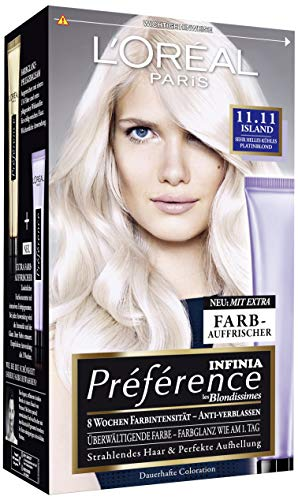 L'Oréal Paris A84404 Preference Coloration Island, 11.11 Sehr Helles Kühles Platinblond, 3er Pack (3 x 1 Stück)