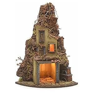 Borgo illuminato angolo con forno presepe napoletano