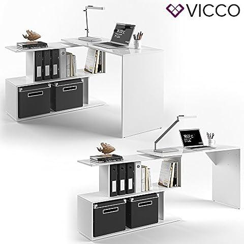 VICCO Eckschreibtisch LEVIA Weiß Hochglanz - PC Tisch Arbeitstisch Computer Büro /- MDF dadurch sehr
