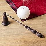 Apagavelas antiguo color marrón – regalo ideal de estilo vintage para el hogar - Longitud: 27cm.