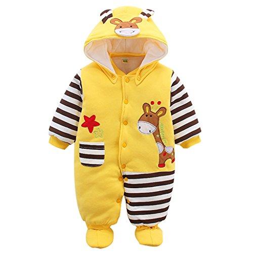 Baby Overall Mit Kapuze Footies Strampler Schneeanzüge Karikatur Jumpsuit Unisex Winter Kleidungsset, Giraffe 9-12 Monate