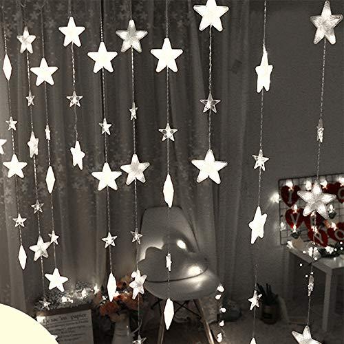 TianranRT Sterne Vorhang Lichter 40 Sterne Lichter Fenster String Lichter Stecker Vorhang String (Weiß) -