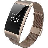 Hhy a66Fitnessuhr Uhrwerk Metall intelligentes Armband mit Pulsmesser Inaktivitätsanzeige Erinnerungsfunktion Gold