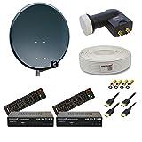 PremiumX Digitale HD Sat Anlage 60cm Schüssel + Twin LNB 0,1dB + 25m Sat Kabel 130dB + 2x PremiumX HD 300 FTA Sat Receiver Full HD