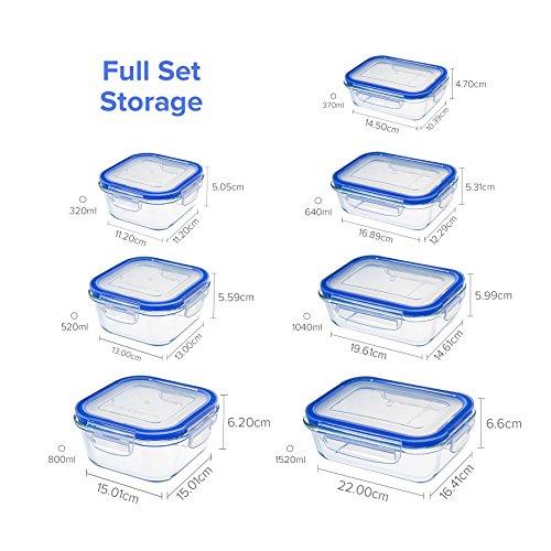 Zestkit Set de 10 Recipientes Herméticos de Vidrio Contenedores para Alimentos Rectangulares y Cuadrados Prueba de fugas Caja Fuerte para Congelador Microondas y Lavavajillas con Paquete de Hielo