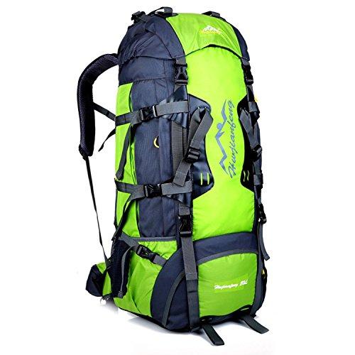 HWJF Borsa per alpinismo all'aperto escursioni grande capacità 80L borsa a tracolla professionale di trasporto , dark blue green