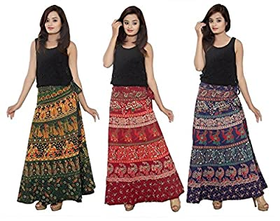 Outer Wear Women's Cotton Wrap Around Skirts Combo (OW0247, Orange, Beige and Rani Pink, Free Size) - Pack of 3
