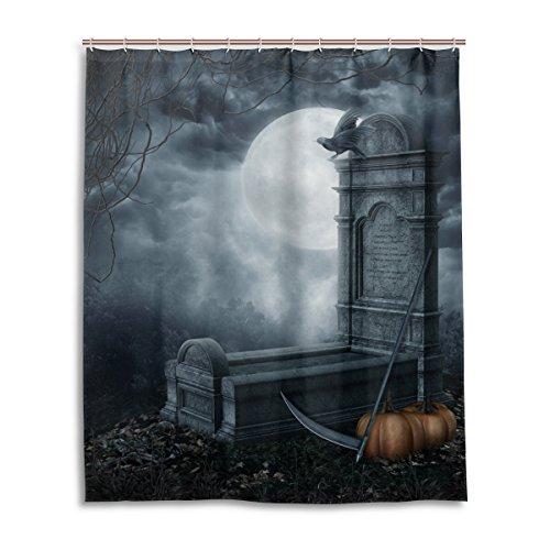 Bad Vorhang für die Dusche 152,4x 182,9cm Gothic Baum Graveyard Skulls Grabstein Kürbis Moon Night Kunst Polyester-Schimmelfest-Badezimmer Vorhang