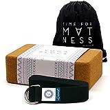 aGreenie Premium Yoga Block aus Kork - 100% Naturprodukt - 1er oder 2er Set - Yoga Klotz für Fitness und Pilates - Inkl. Rucksack und GRATIS Übungsanleitungen