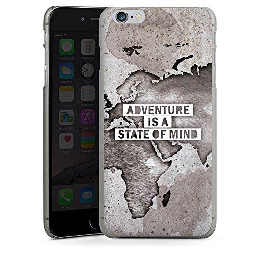 Apple iPhone 6 Hülle Case Handyhülle Weltkarte Spruch Abenteuer Hard Case anthrazit-klar