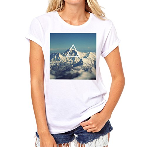 Illuminati Triangle Art Majestic Mountain Light Background Damen T-Shirt Weiß