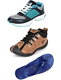 Maddy Perfect Combo Of Sport Shoes, Sneaker & Slipper For Men Pack Of 3 In Various Sizes
