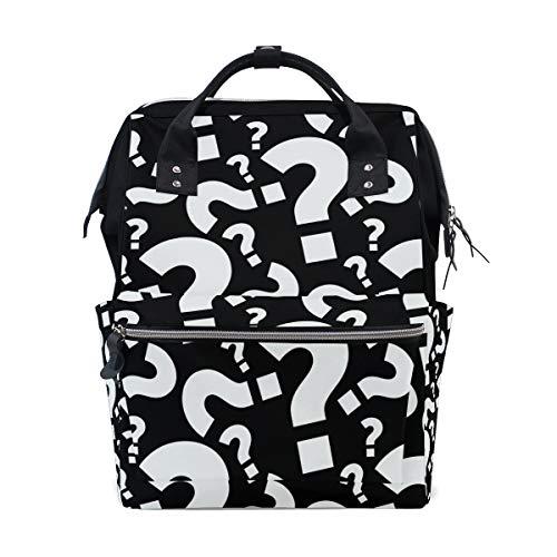 Question Wickeltasche/Rucksack für Mütter, Vater, für Reisen, Schule, Jungen, Mädchen, große Kapazität, Schwarz/Weiß