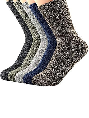 Wolle Feuchtigkeit (Urban Virgin Damen Socken 5 Paar, Kaltwetter-Socken aus dicker Wolle - - Einheitsgröße)