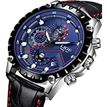 LIGE Relojes Hombres Moda Reloj de Cuero Impermeable 30M Deportes Reloj de Cuarzo Analógico Fecha Negocios