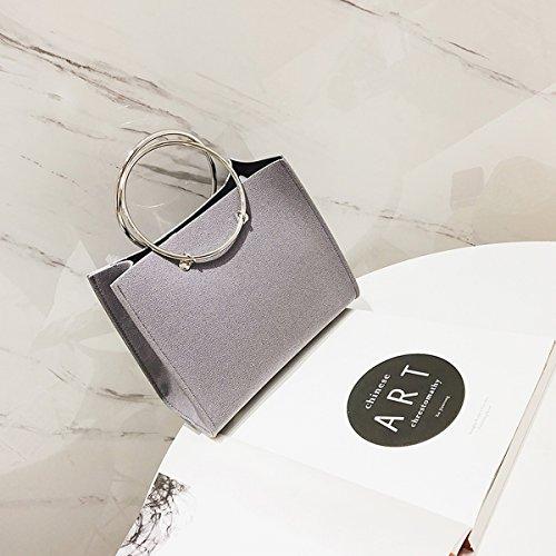 Weibliche metall Ring Frosted handtasche kleine quadratische tasche messenger bag hellgrau