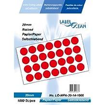 1000 Markierungspunkte, 20mm aus Papier, (Farbpunkte, farbige Klebepunkte), rot von LabelOcean (R), LO-MPA-20-14-1000, Vielzwecketiketten