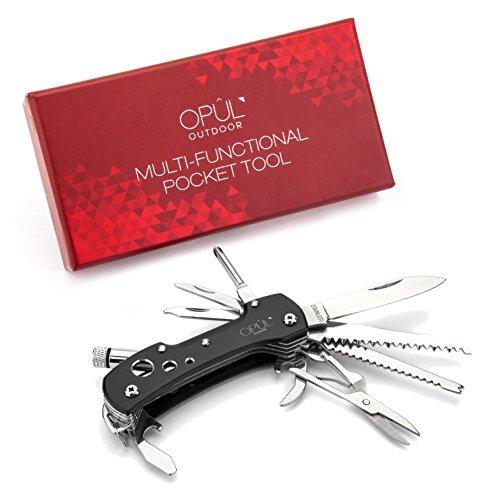Couteau Suisse, Couteau de Poche OPUL - Outil de Poche Multifonction, Acier Inoxydable, 12 Outils en 1, Outil de Camping, Couteau de Survie Indispensable pour l'Extérieur, Design Chic et Mod
