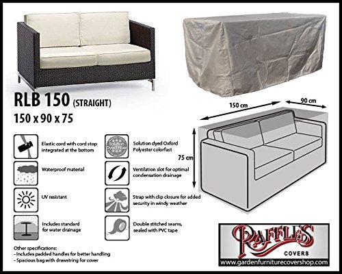 RLB150straight Hülle für Lounge Bank, Rattan Gartensofa oder Lounge Sofa, 2 Personen, passt am...