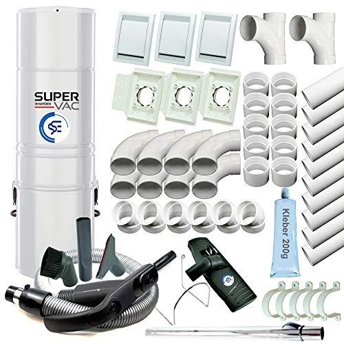 Zentralstaubsauger SuperVac70 Komplett-Set für 3 Saugstellen, inklusive Rohren, Saugdosen und Sauggarnitur