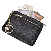 Beurlike Womens RFID Coin Purse Change Wallet Small Leather Card Holder Keychain (black)
