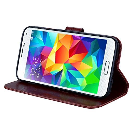 Coque Samsung S5 Anfire Fleur Motif Peint Mode Coque PU Cuir pour Galaxy S5 Etui Case Protection Portefeuille Rabat Étui Coque Housse pour Samsung Galaxy S5 SM-G900F i9600 (5.1 pouces) Luxe Style Livr Brun