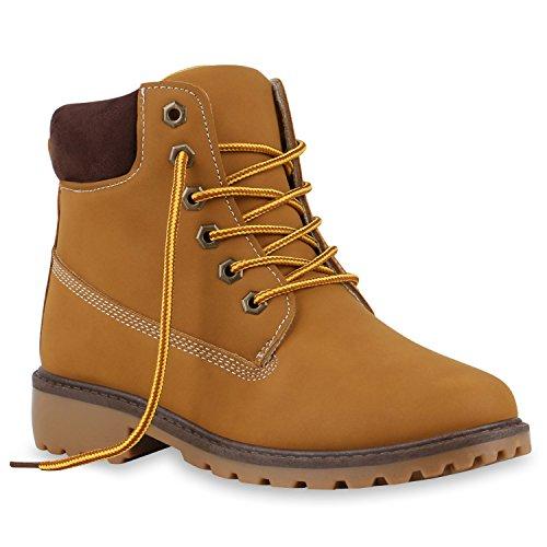 Derbe Damen Stiefeletten Outdoor Worker Boots Wanderschuhe Hellbraun Dunkelbraun
