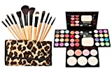 TimeSong Professional Cosmetic Makeup Palette Set Kit (Include: Eyeshadow & Blusher & Face Powder & Lip Gloss) + Makeup Brushes Set (12pcs Wood Brushes)